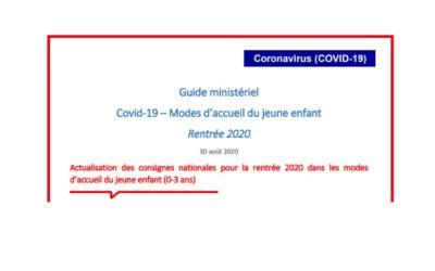 Actualisation des consignes nationales pour la rentrée 2020 dans les modes d'accueil du jeune enfant (0-3 ans)