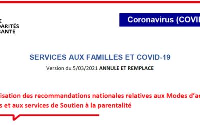 Services aux familles et COVID-19 – actualisation